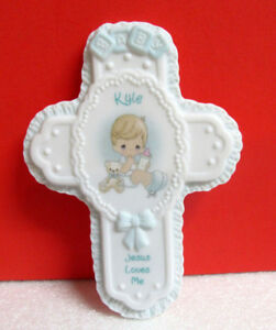 Details About Precious Moments Kyle Baby Boy Jesus Loves Me Personalized Cross Wall Hanging