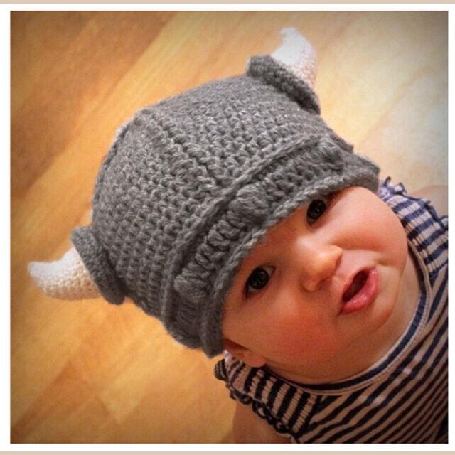 282ec6563d107 Hot Sale Newborn Baby Kids Viking Hat Crochet Horns Cap Knitted Beanie  Costume