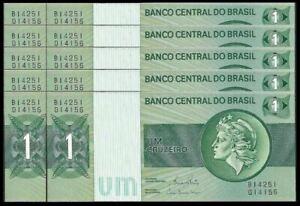Brasil-1-Cruzeiro-1972-80-10pcs-Running-Number-UNC-OFFER