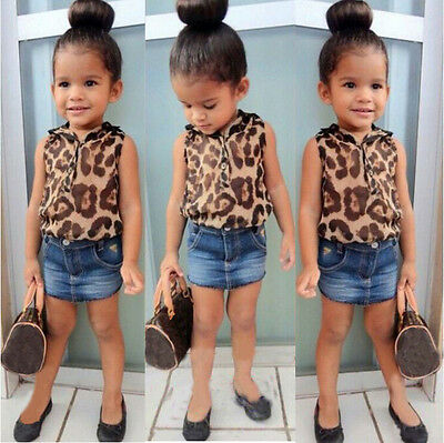 2015 Baby Girls Clothing Set Leopard Shirt + Denim Blue Skirt 2 Pcs/Outfit Suit