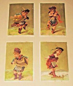 LOT-4-ANTIQUE-1880s-TRADE-CARDS-Scottish-Irish-DANCERS-Children-KILTS-Bagpipes