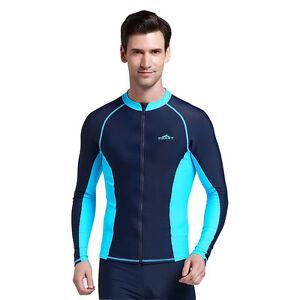 36251f705f5 Zipper Men Plus Size Rash Guard Jacket Wetsuit Surfing Diving Long ...