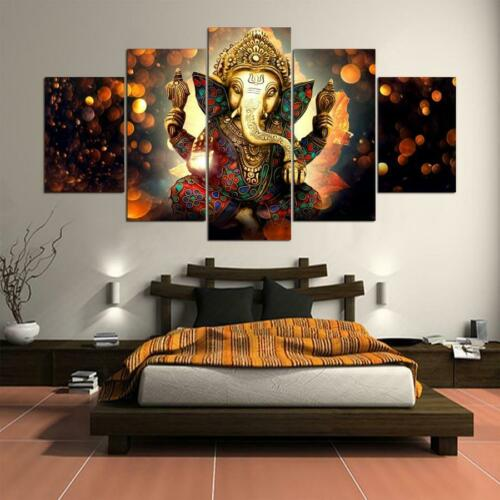 Canvas Painting HD Wall Art Framed Unframed 5 Pieces Ganesh Elephant Trunk Go...