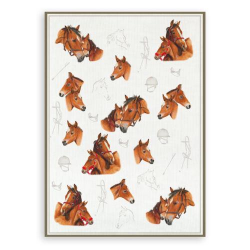 chevaux format 50x70 halbleinen imprimés Bâton qui torchon