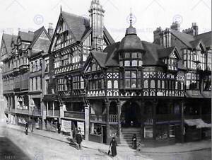 THE-CROSS-AND-ROWS-CHESTER-CHESHIRE-ENGLAND-1895-OLD-BW-PHOTO-PRINT-1986BWB