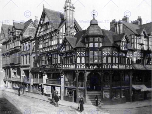 THE CROSS AND ROWS CHESTER CHESHIRE ENGLAND 1895 OLD BW PHOTO PRINT 1986BWB