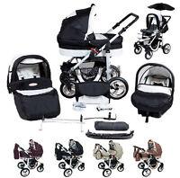 Baby Pram Stroller Buggy Pushchair Silver Kunert Car Seat + Umbrella Air Wheels