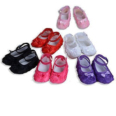 Neu Baby Mädchen Taufschuhe in Weiß Pink Blau Creme 6 9 12 15 18 21months