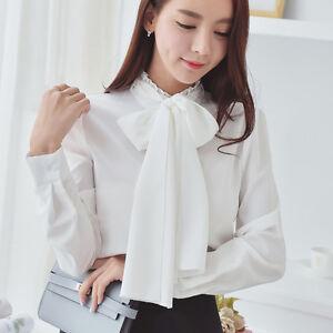3554e33b45cda3 Women Ruffle Collar Shirt Neck Bow Tie Scarf Button Long Sleeve ...