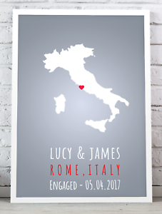wedding gift //special place Personalised engagement present anniversary gift