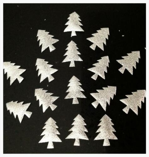 100 Silver Fabric Christmas Tree Motifs Slightly Padded 22mm x 17mm