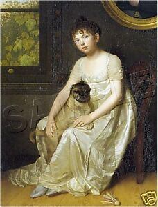 1810-REGENCY-VICTORIAN-Girl-PUG-Dog-CANVAS-Art-LARGE