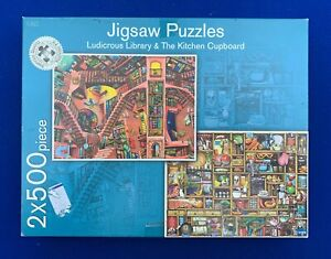 M-amp-S-2-x-500-Piece-Jigsaw-Puzzles-Ludicrous-Library-amp-The-Kitchen-Cupboard
