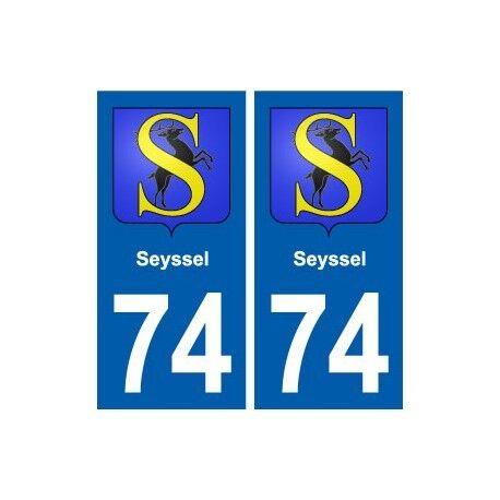 74 Seyssel blason autocollant plaque stickers ville droits