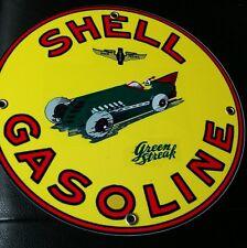 "Shell Green Streak Oil gasoline sign ... round ~12"""