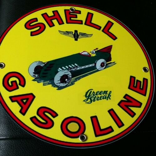 """round ~12/""""..FREE ship on 10 signs Green Streak Oil gasoline sign .."""