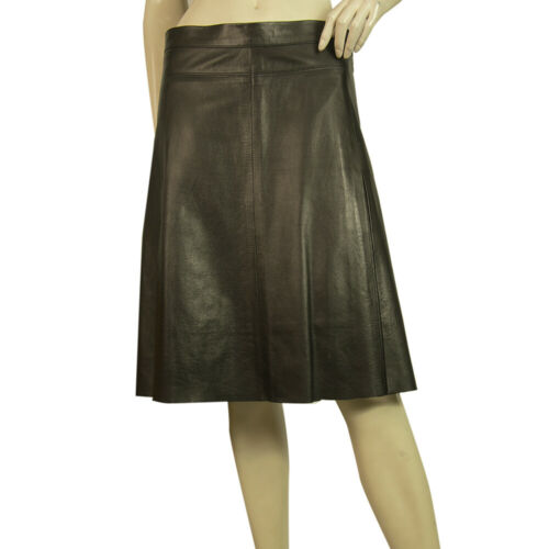 Black Leather Classy A- Line Knee Length Flared Sk
