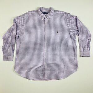 Ralph-Lauren-Mens-Oxford-Shirt-Blue-White-Tattersall-Long-Sleeve-Big-amp-Tall-3XLB