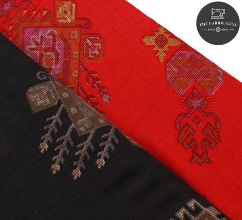 "High Quality 44/"" Ethnic Block Print Black and Red 100/% Rayon Fabric"