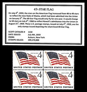 1959 - 49-STAR FLAG - Mint, Never Hinged, Block of Four Vintage Postage Stamps