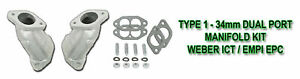 VW WEBER ICT EMPI EPC SINGLE PORT INTAKE MANIFOLDS FOR BUG BUS GHIA AND TYPE 3/'s