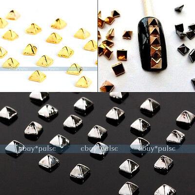 100 Punk 3D Nail Art Alloy Rivet Studs Pyramid Glitters Beads DIY Decoration New