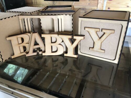 Cubes Blocks Baby Shower Christening Alphabet 6mm MDF 4ft Tall