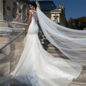 White-Ivory-2M-Long-Prom-Gown-Wedding-Bridal-Veil-Cathedral-Length-With-Comb