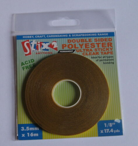 6mm or 12mm. 3.5mm Stix2 Double Sided Polyester Ultra Sticky Clear Tape
