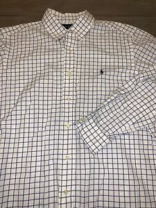 Mens-RALPH-LAUREN-POLO-Button-Down-Shirt-White-Blue-Size-L