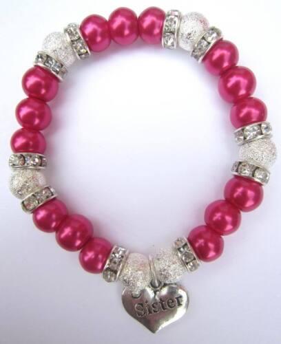 New Sister Mum Niece Nana Aunt Diamante Pearl Bracelet 8 Colours Ideal Gift