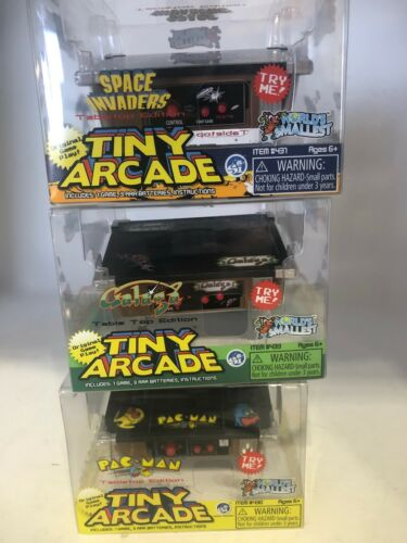 3x Super Impulse Tiny Arcade Mini Table Top Pac-Man Galaga and Space Invaders