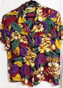 Sag-Harbor-Multi-Color-Floral-Blouse-Red-Purple-Green-Yellow-Size-M-Hawaiian