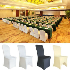 Details About 100 Universal Chair Covers Stretch Spandex For Wedding Party Banquet Hotel Decor