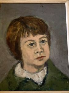 Vintage-Painting-Oil-on-Canvas-Portrait-No-Signed-Wood-Frame-Free-Shipping