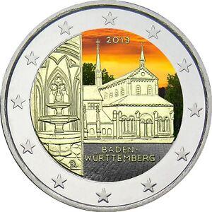 2-Euro-Gedenkmuenze-BRD-Deutschland-2013-Maulbronn-coloriert-Farbe-Farbmuenze