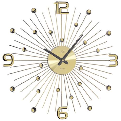 49 Cm Jvd Ht074.1 Large Wall Clock Quartz Analog Golden Motive Sun Rays Ø Ca