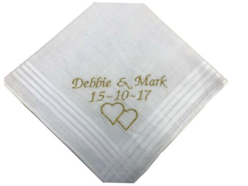 any message can be added. Personalised Ladies Handkerchief hearts