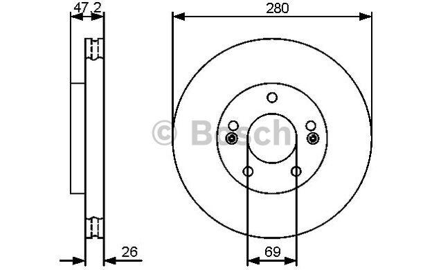 BOSCH Juego de 2 discos freno Antes 280mm ventilado HYUNDAI i30 0 986 479 460