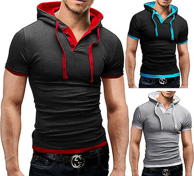 Herren Poloshirt Slim Fit Hoodie Kapuze Figurbetont Pulli T-Shirt MERISH 09