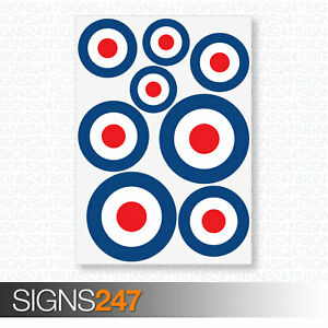 RAF-Stickers-MOD-Target-Roundel-Scooter-Vinyl-Decal-Stickers-Cars-Vans