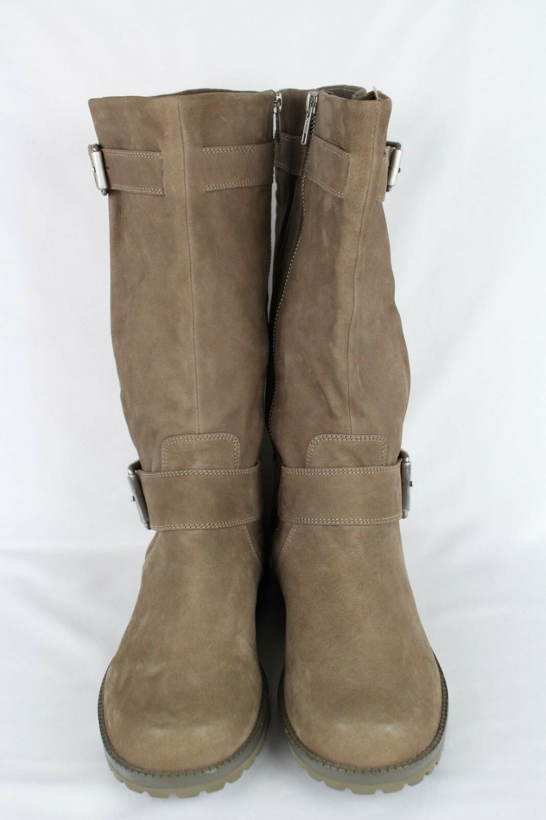 Gentle Souls Women's Buckled Up Mid Mid Mid Calf Boots 9.5m Mushroom Super Soft Leather 6c19e4