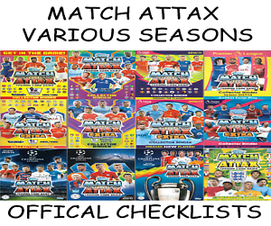 match attax checklists official inserts from binders folders 14