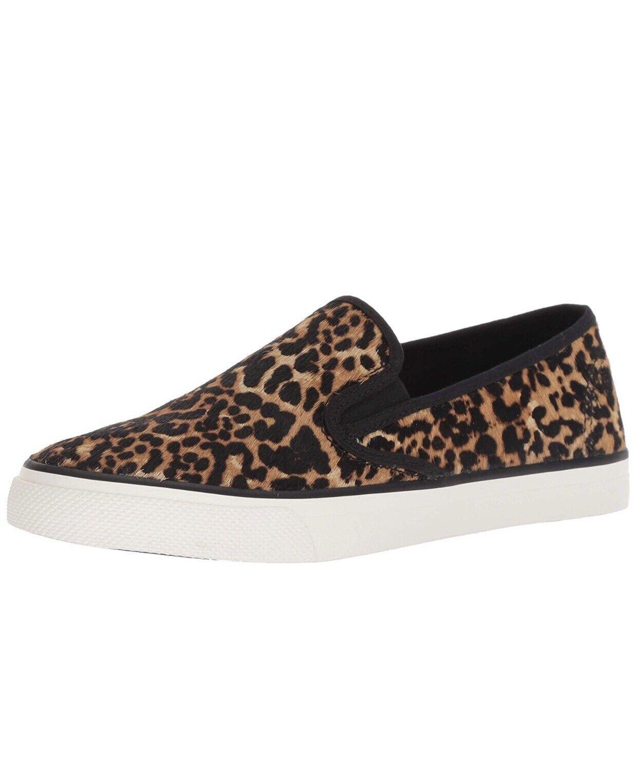 Sperrys seaside Tan multi leopard shoes Size 6