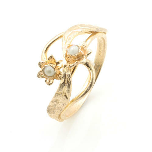 9ct pink gold Welsh Design Ring with Daffodil Flower Motif - Finger Size H to P
