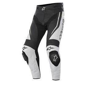 Alpinestars-BIELLETTE-noir-blanc-moto-cuir-pantalon-toutes-tailles