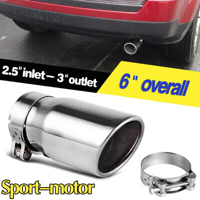 """4/"""" Out With Clamp 3.5/"""" In Polished Stainless Steel Diesel Exhaust Tip"""