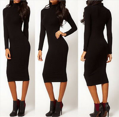 Women Sexy Black Hip Stretch Bodycon Long Sleeve Turtle Neck Midi Pencil Dress