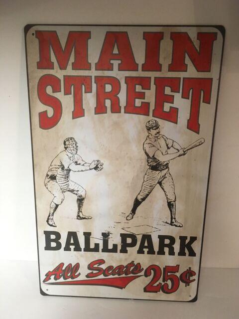 Baseball Ballpark Main Street Vintage look Tin Metal Sign New