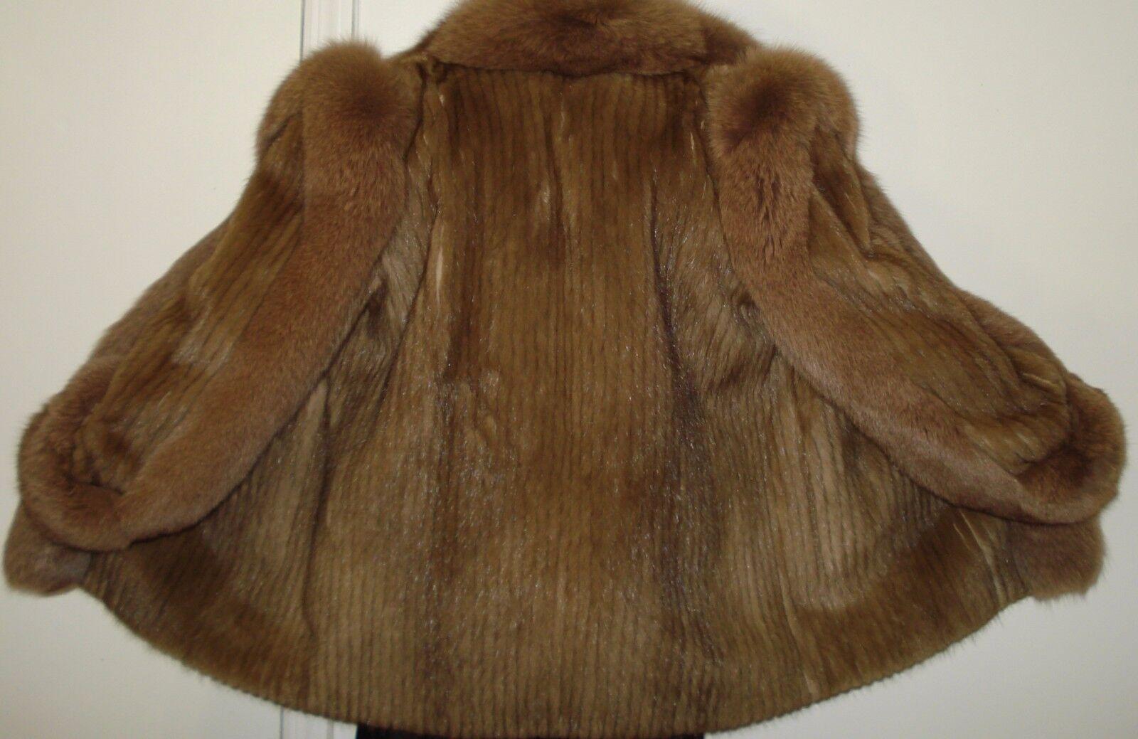 Sable Color  visón y piel de zorro chaqueta talla 8-10 Envío Gratis Excelente Estado  venta al por mayor barato